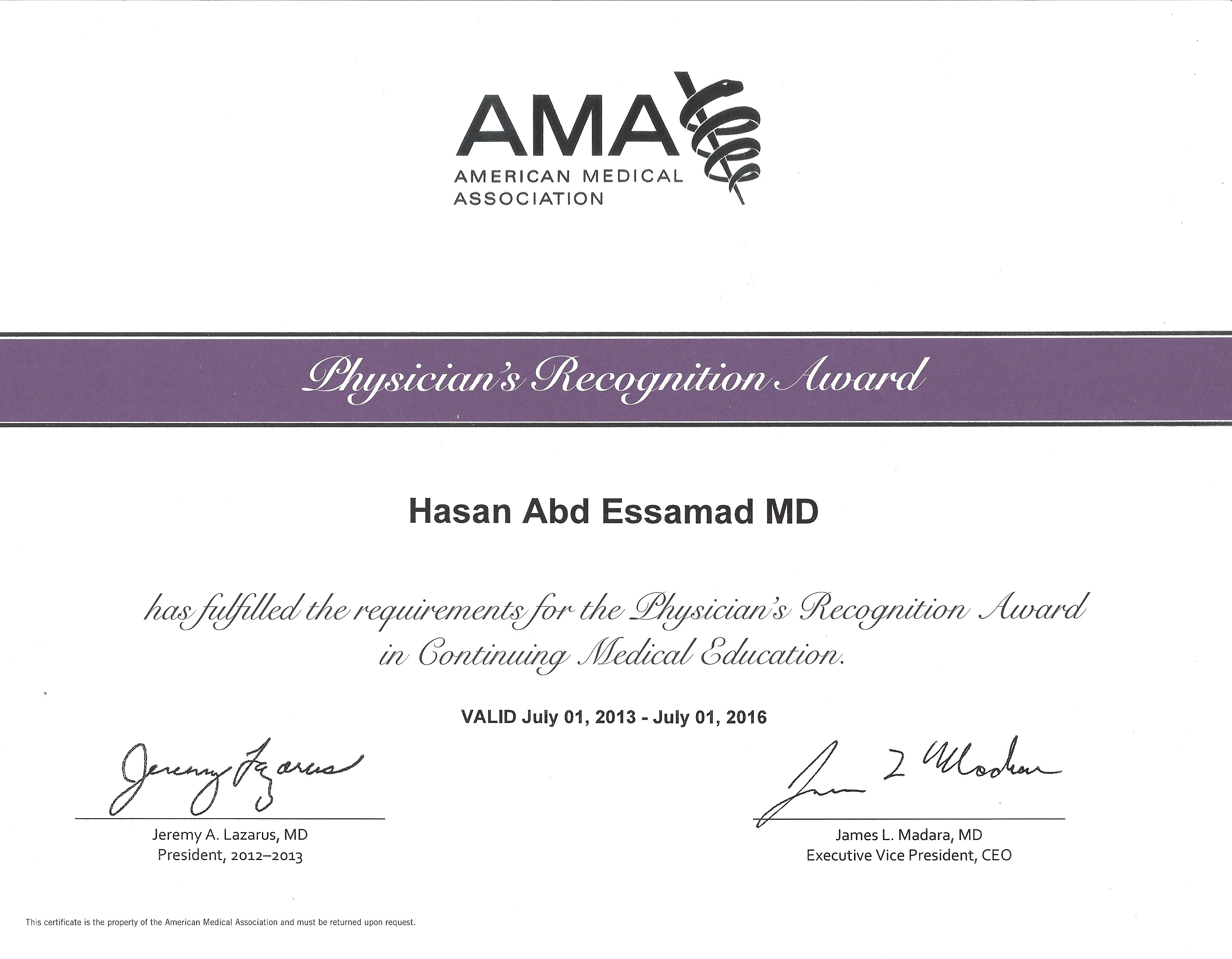 My Ama Physicians Recognition Award In Cme Dr Hasan Abdessamad