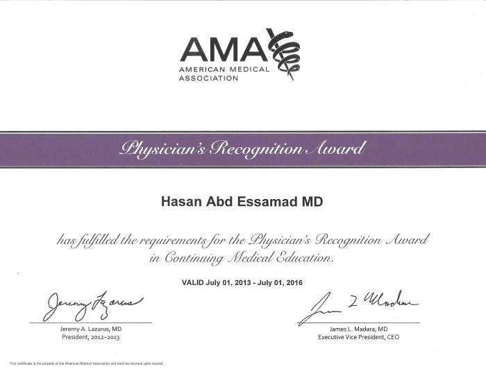 My AMA Physician's Recognition Award in CME