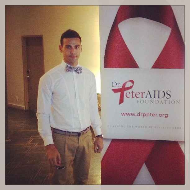 Dr. Hasan Abdessamad with Dr. Peter AIDS Foundation Poster