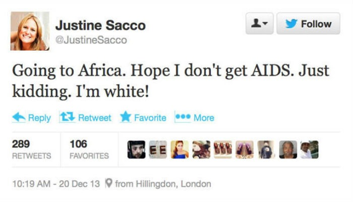 Justine Sacco Twitter by Dr. Hasan Abdessamad