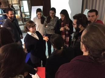 Dr. Rizk in answering questions from LeMSIC medical students at a workshop on LGBT health planned by LebMASH, Lebanon, 2015.